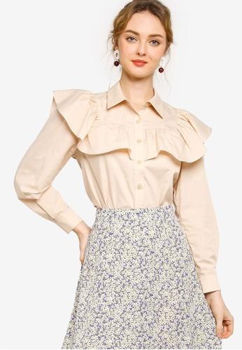 Lubna brown Ruffle Trim Button Up Shirt 82CCDAAAFB94F9GS_1