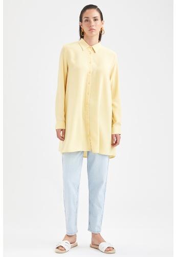 DeFacto yellow Long Sleeve Viscose Shirt Tunic EDFCEAA738EEE8GS_1