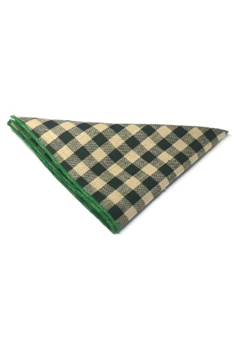 Splice Cufflinks green Patchwork Series Dark Green Plaids Design with Green Linings Cotton Pocket Square   SP744AC95DKISG_1