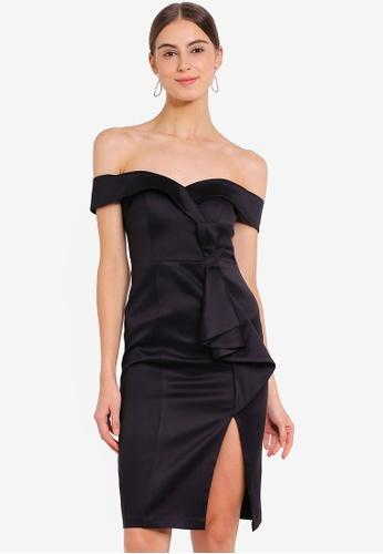 a6325fcc508e Buy Goddiva Satin Bardot Bow Midi Dress Online on ZALORA Singapore