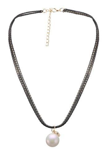 Dandelion black Double Chains Pearl Necklace DA944AC0SO6MMY_1