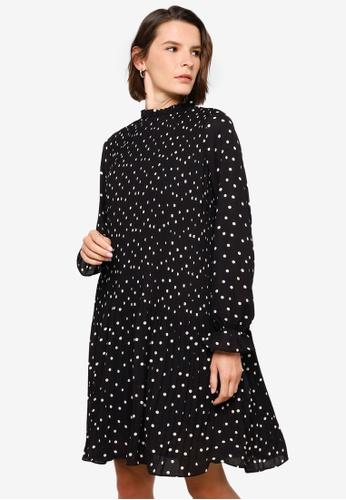 Vero Moda black Dorit Long Sleeve Pleat Short Dress 36D10AA1224B8AGS_1