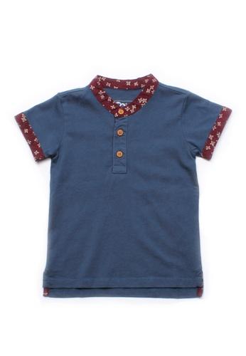 Mini Moley blue Floral Motif Mandarin Collar Boy's Polo T-Shirt 5450BKA3F6B799GS_1