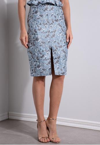 ZALORA OCCASION multi Jacquard Pencil Skirt with Slit E6375AA554F94BGS_1