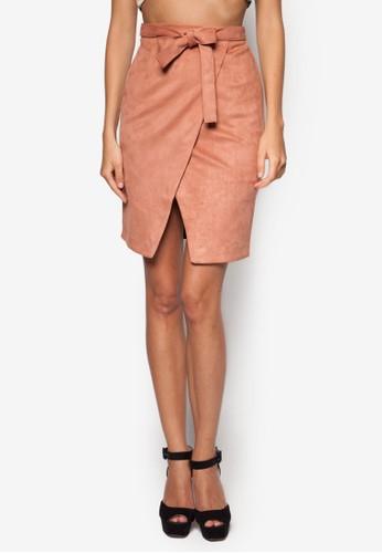 仿麂皮裹式短裙,zalora 內衣 服飾, 裙子