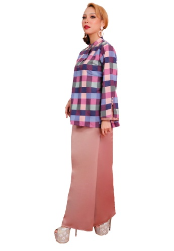 SARIMA grey and pink and blue and purple Kurung Mini Riau Checkered Pink Grey Purple Peach 28DFCAA4C78D2BGS_1