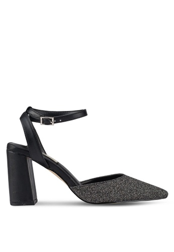 Nose black Evening Ankle Strap Chunky Heel Pumps 72005SHB2ECF2EGS 1
