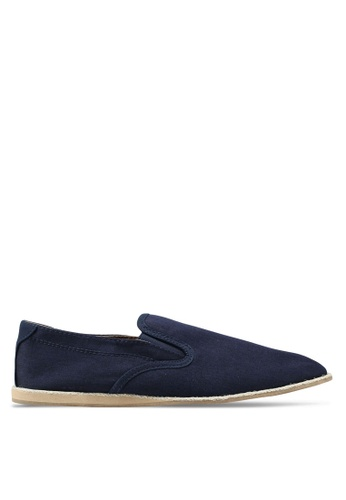 Topman navy Navy Canvas Dax Slip On Boat Shoes 1E316SHC25B3CEGS_1