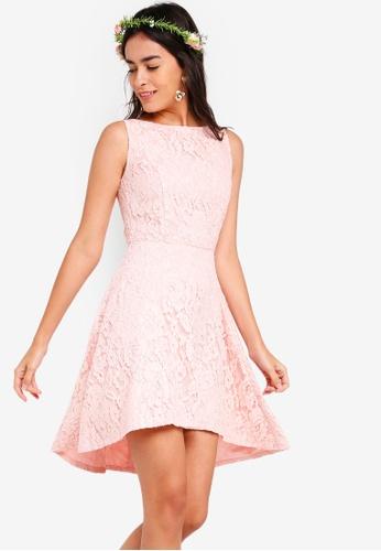 ZALORA pink Bridesmaid Dipped Hem Dress B03A8AA5FBFD21GS_1