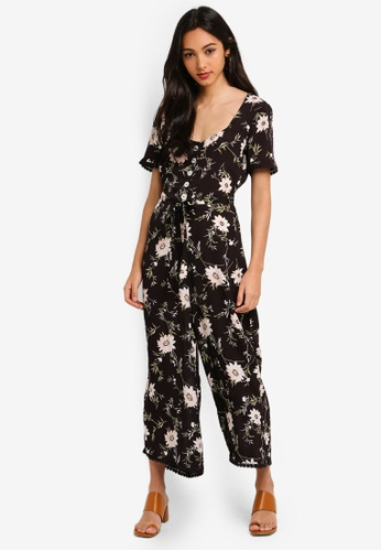 3dacdcd7b69 Miss Selfridge black Black Floral Print V Neck Button Through Jumpsuit  13399AA63C520CGS 1