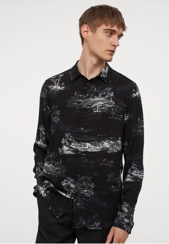 H&M black and multi Slim Fit Viscose shirt 2A922AA4C1F4C8GS_1