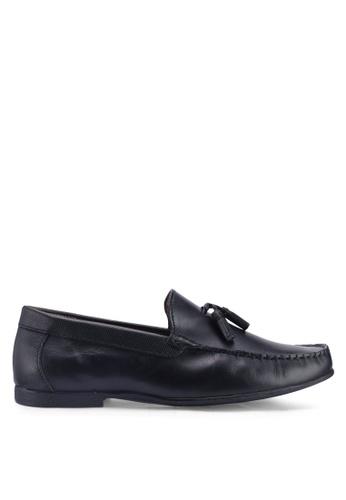 Topman black Black Leather Blast Loafers EC7A4SH8442629GS_1