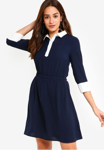 ZALORA navy Contrast Fit And Flare Dress 3E7A4AA04DE4F4GS_1