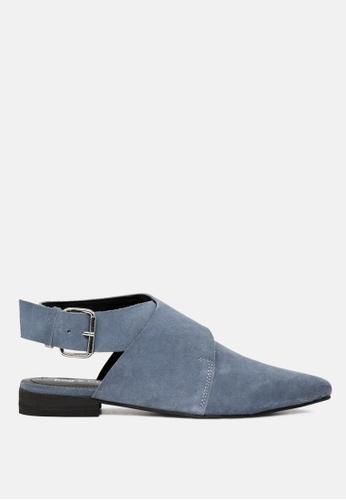 Rag & CO. 藍色 漏脚跟鞋领口扣封设计的真皮凉鞋 08084SHCA68391GS_1