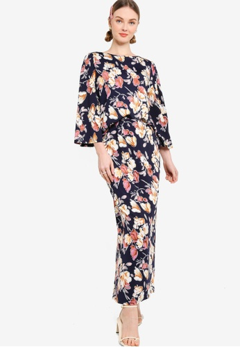 Lubna brown and navy Stretch Puff Sleeve Kurung 55691AA0AFEB27GS_1