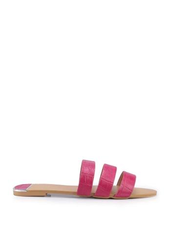 nose pink Mock Croco Flat Slides E4EF1SH3D8DD49GS_1