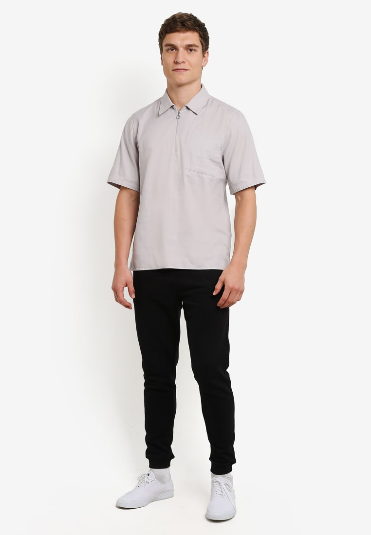 Shirt Grey Grey Zip Topman Modern 6rqEwr