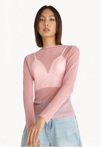 Pomelo pink Sheer Long Sleeves Top - Pink CA3C1AA2BC7B27GS_1