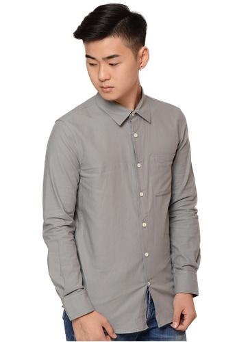 Praise grey Long Sleeves Shirt PR067AA0HA9GSG_1