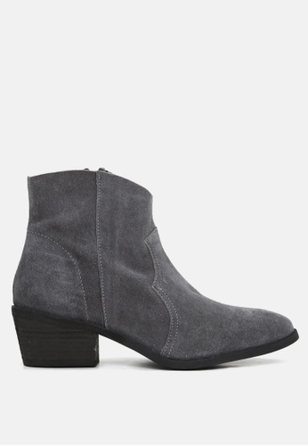 Rag & CO. grey Stack Heel Ankle Boots AB8E9SH9CF76D3GS_1