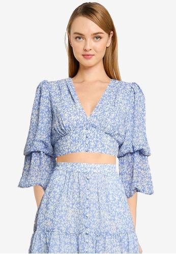 Forever New blue Dina Petite Double Sleeve Blouse 2CE65AA9E1AE47GS_1
