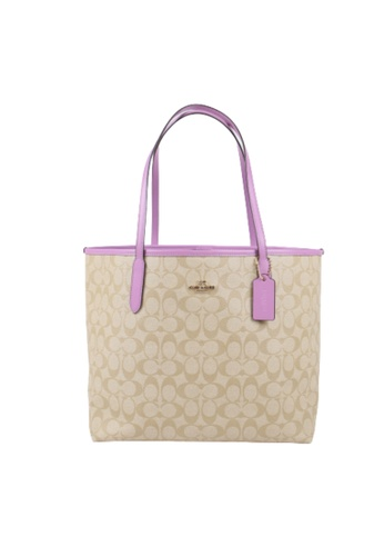 Coach brown Coach Signature City 5696 Tote Bag In Violet Orchids D3D2AACF9ACA90GS_1