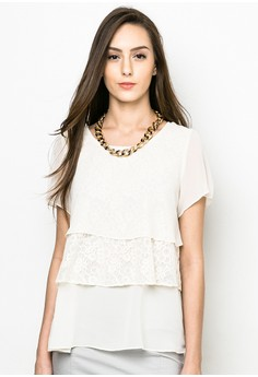 Layered Lace Short-sleeves Blouse