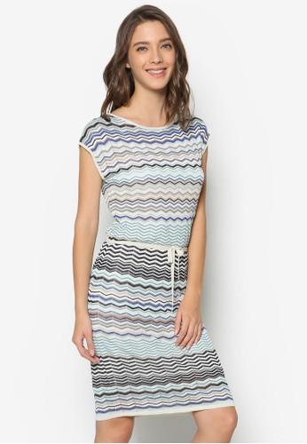 zalora開箱鋸齒印花針織洋裝, 服飾, 洋裝