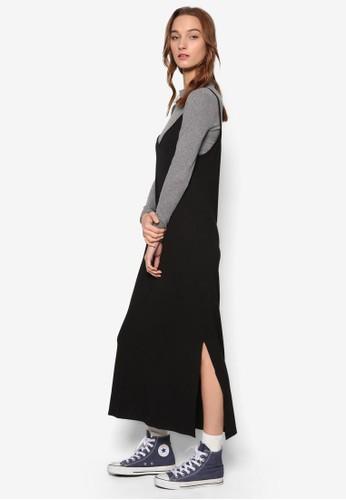 側開叉羅紋糾紛細肩帶連身裙, esprit台灣網頁服飾, 洋裝