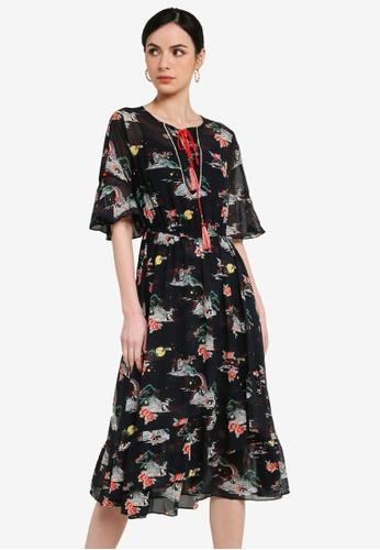 Hopeshow black Panda Floral Print Dress 2F9ECAA1BC80BFGS_1