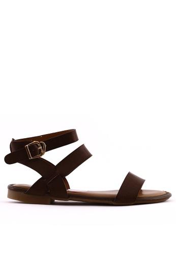 7soles brown Skye Strappy Sandals B4BFESHCD668E5GS_1