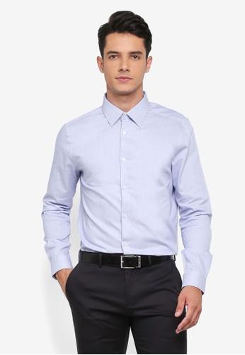 Burton Menswear London blue Blue Slim Fit Jaspe Shirt A0AD4AAC4FA0EBGS_1