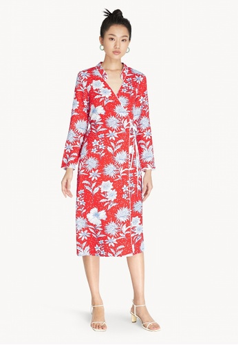 Pomelo red Floral Surplice Wrap Dress - Red E0340AA751633AGS_1