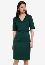 ZALORA green Tailored Belted Dress F31D7AA99C6098GS_1