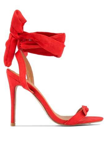 Public Desire red Boulevard Bow Detail Wrap Around Barely There Heels PU378SH0S9O4MY_1