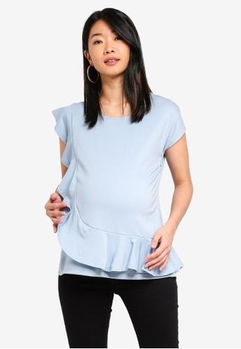 Spring Maternity 藍色 孕婦裝 褶飾上衣 F3DD8AAF7F38B5GS_1