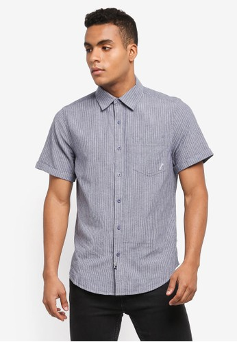 Indicode Jeans blue and multi Saskatoon Short Sleeve Linen Shirt 4154CAAECACA7EGS_1