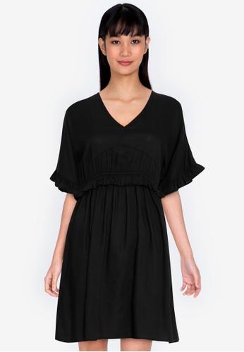 ZALORA BASICS black V Neck Ruffle Waist Dress 92231AA3AF9E50GS_1