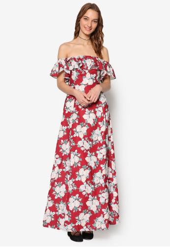 Esley 花卉荷葉飾露肩領短袖esprit 高雄連身裙, 服飾, 洋裝