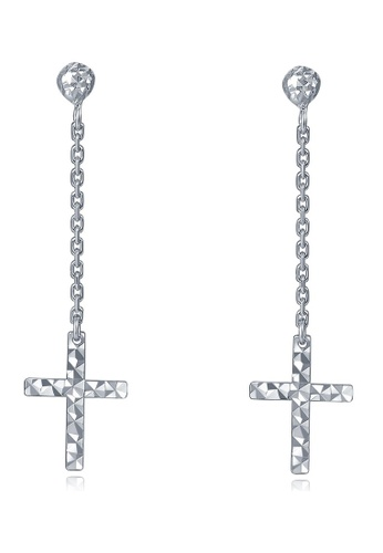 MaBelle silver 14K 585 White Gold Crucifix Cross Long Chain Stud Earrings 17F5EAC7CD61EAGS_1
