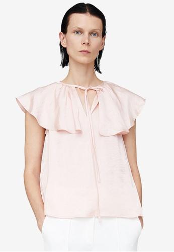 URBAN REVIVO pink Ruffle Collar Top E10A2AA0AFA13CGS_1