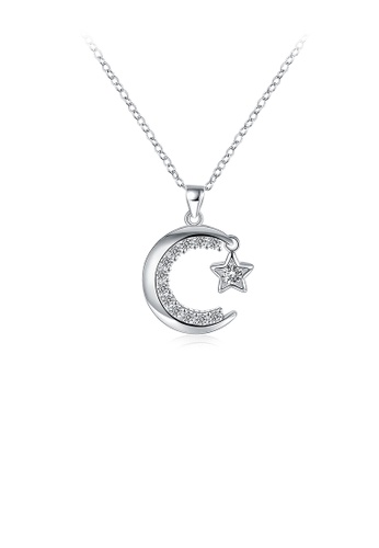Glamorousky white Bright Moon and Star Pendant with Cubic Zircon and Necklace 11005AC0345103GS_1