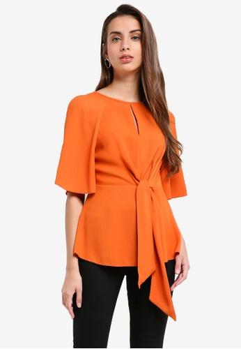 River Island orange Tie Front Blouse 3CD2FAA0288EFCGS_1