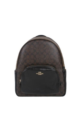Coach brown Coach Large Signature Court 6495 Backpack In Brown Black 251EDAC55A2FF6GS_1