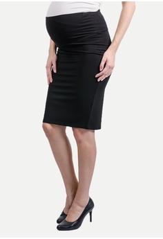 15d434f02f125 9months Maternity black Black Midi Maternity Skirt 9M410AA0S7HQMY_1