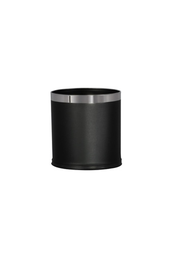 JVD JVD Lifestyle Oval Double Layer 10 Litres Bin With PU Leatherette Black 4EA49HLD26903EGS_1