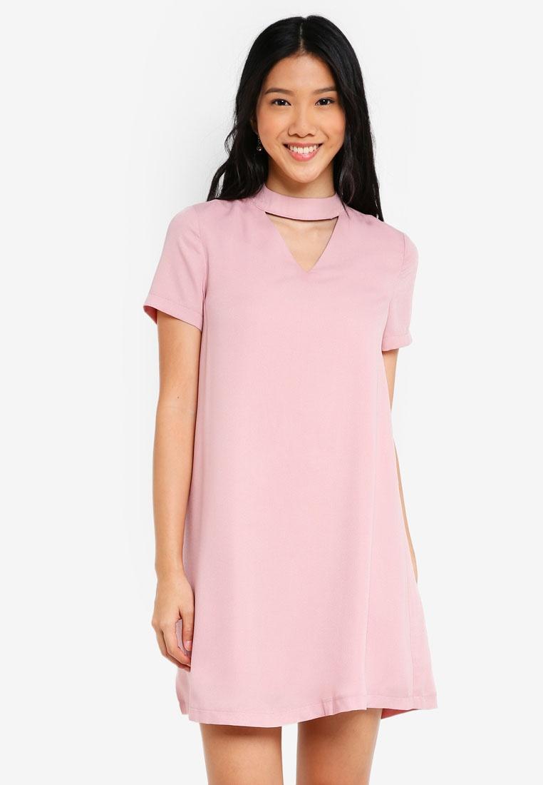 Dress Choker Dress ZALORA Pink Dusty ZALORA Dusty Choker PRPwxIdq