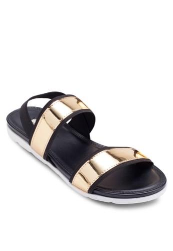 Chresprit女裝ome 金屬感平底涼鞋, 女鞋, 涼鞋