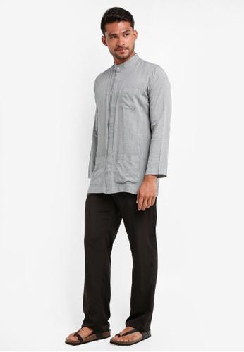 Lubna black and grey Grid Double Placket Baju Melayu Teluk Belanga 7935CAA556BC43GS_1
