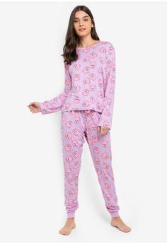 3f395acb2b Chelsea Peers pink and purple and multi Pomeranian Print Long Pyjamas Set  1EACDAAD88326AGS 1